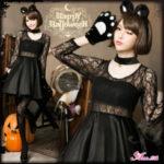ハロウィンの黒猫仮装用衣装